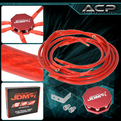 Universal Car Truck SUV Red Ground Grounding Wire Cable Earth System 8 Point