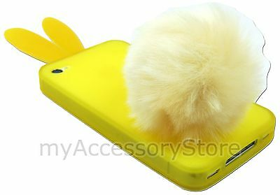For iPhone 4 4S Rabito Bunny&Puffy Tail TPU Silicone Rubber Skin Phone Case