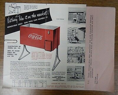 Progress Refrigerator Co. Coca Cola Special Event Coolers Advertising Letter