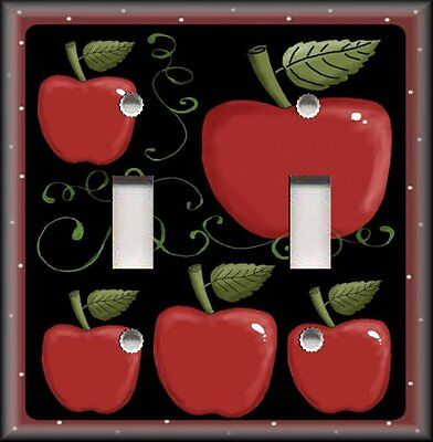Metal Light Switch Plate Cover - Country Kitchen Decor - Apples Decor On Black
