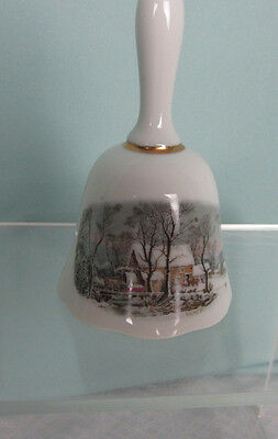 Avon Representative 1978 Porcelain Bell  Recognition Currier & Ives Home Gold