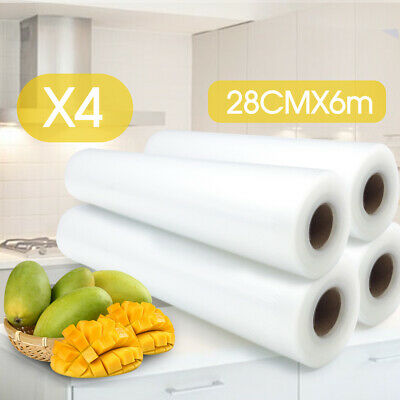 4x Vacuum Food Sealer Roll Bags Saver Seal Storage Heat Commercial 24m x 28cm