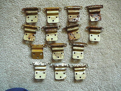 LOT of 26 Vintage SALVAGED CABINET HINGES NICKEL on STEEL Chippy Paint SHABBY