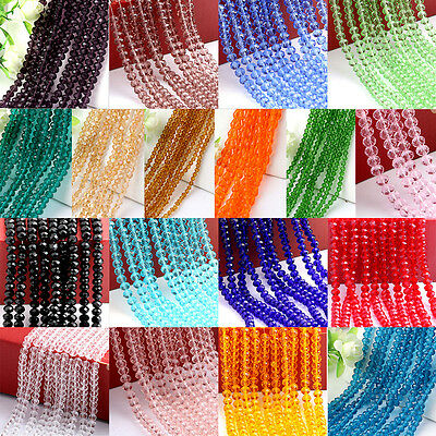 4/6/8/10mm Rondelle Faceted Crystal Glass Loose Beads Diy Findings Multicolor AT