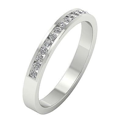Stackable 0.30Ct Real Diamond 14Kt Gold Channel Set Engagement Ring Wedding Band