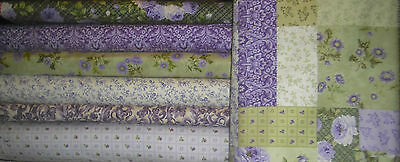 Northcott Sweet Bed of Roses QUILT FABRIC- 7 diff 1/2 yds = 3 1/2 yds Purple/Grn