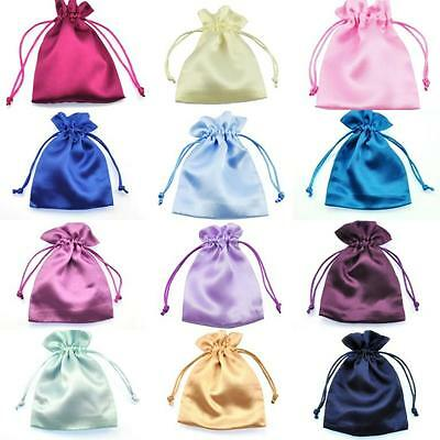 Satin Silk Weddding Favour Gift Bags Drawstring Jewellery Pouches Wholesale UK