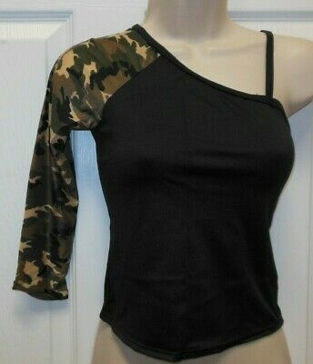 NWOT Camoflauge one armed Dance Spandex top Small adult