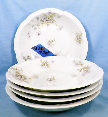 5 Theodore Haviland Soup Bowls Schleiger 162 125 Blue White Flower Antique As Is