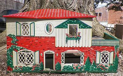 Vintage Tin Doll House Toy T Cohn Lithograph Large 1950s 2 Story As Is Condition