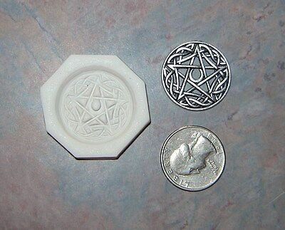 Celtic Moon Pentagram Star Polymer Clay Push Mold DIY Wicca Pagan Jewelry