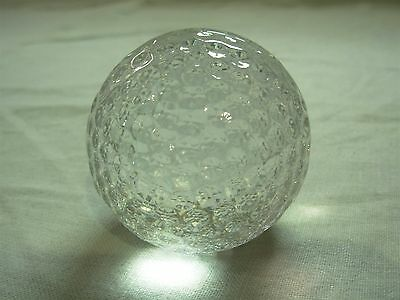 Signed Orrefors Crystal Sweden Art Glass Golf Ball Paperweight Figure