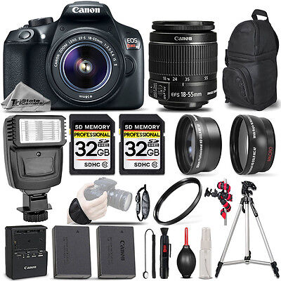 Canon EOS REBEL T6 DSLR Camera + 18-55mm IS - 3 LENS KIT + FLASH - 64GB BUNDLE