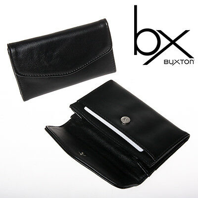 2 Buxton Black Faux Leather Snap Business Card Case Holder Wallet Pocket File