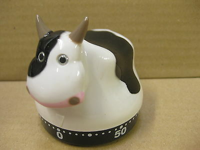 Cow Timer Modern Kitchen Moo Moo Egg Small Mechanical Wind Up 60 Mintutes New
