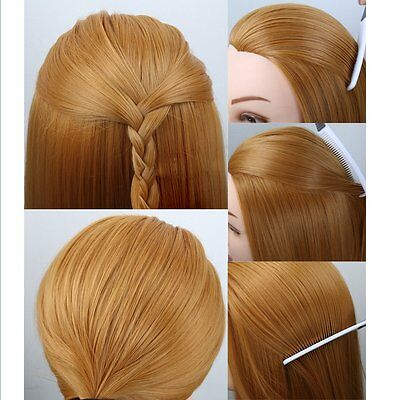 "Hairdressing Training 24"" Salon 30% Human Hair Head Mannequin With Holder"
