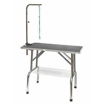 Go Pet CLub 30 in. Heavy Duty Stainless steel Pet Dog Grooming Table with Arm