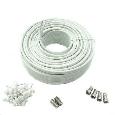 30M White Satellite Twin Sky + HD Q Extension Coax Cable + Connectors & Clips