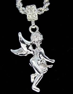 """Angel Pendant Silver Plated 4mm Rope CZ Hip Hop Chain Bling 24"""" Necklace"""