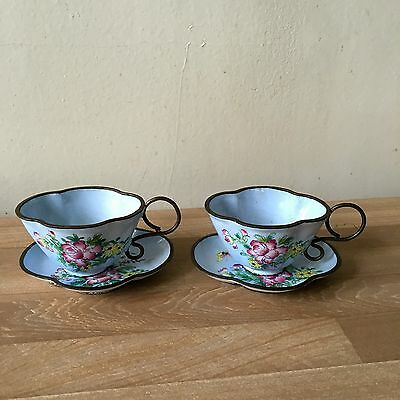 Superb Pair of Chinese Signed Enamel Cups & Saucers Floral & Butterfly Design