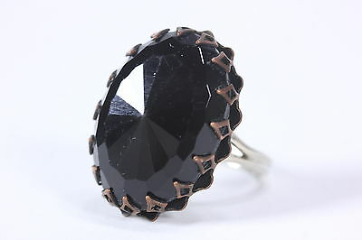 Black Rivoli Stone Ring In Copper Pronged Setting Size 7 1/2 Womens Cocktail