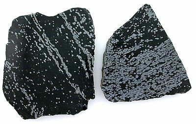 113.9 Gram Two Snowflake Obsidian Cab Cabochon Slab Gem Gemstone Rough sos1