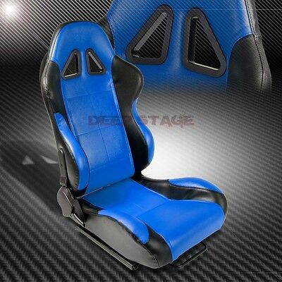 2 X Blue/black Pvc Leather Sports Style Racing Seats+Mounting Sliders Right Side
