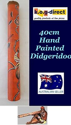 Didgeridoo Bamboo 40Cm Aboriginal Beautifully Hand Painted New Brn