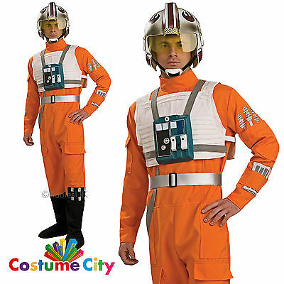 Adult Mens Official Deluxe Star Wars X-Wing Fighter Pilot Fancy Dress Costume