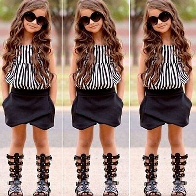 2PCS Toddler Kids Baby Girl Striped T-shirt Tops+Pants Shorts Clothes Outfit Set