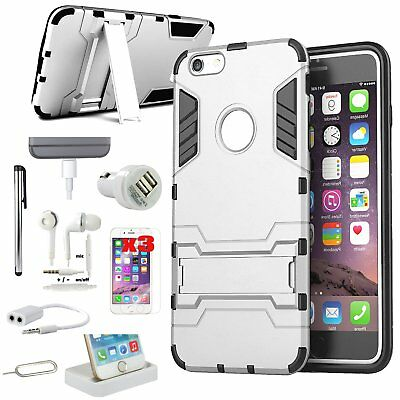 Sliver Kickstand Case Charger Accessory Bundle For iPhone 6 Plus/iPhone 6S Plus