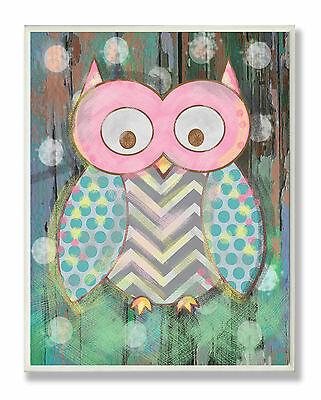 Stupell Industries The Kids Room Distressed Woodland Owl Canvas Wall Art