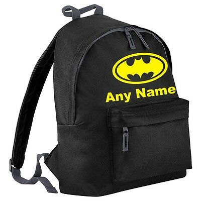 Personalised BATMAN Style Backpack/School/PE Bag. Choice Of Colours.