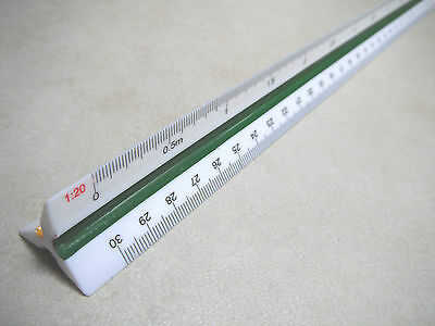 TRIANGLE SCALE RULER ENGINEERS Draughtsmen  1:20 1:25 1:50 1:75 1:100 1:125