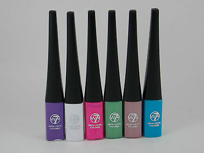W7 Neon Lights Liquid Eyeliner Pens Blue.Brown.White.Purple.Pink.Green