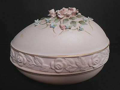Lefton China Vintage Covered Egg Candy or Trinket Dish With Rosed & Blue Flowers