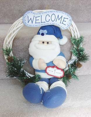 Welcome Wreath ~White & Blue~ Santa