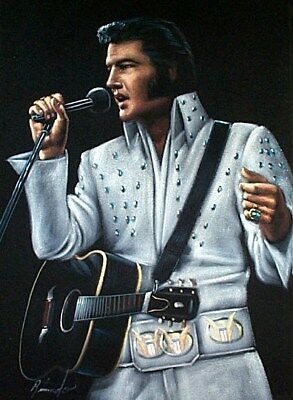 "New Hand Painted 18""x12"" Velvet Elvis Presley White Jump Suit w/Guitar Painting"