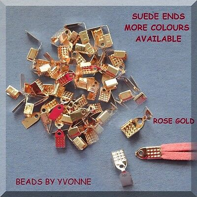 100 Rose Gold Suede / Cord Ends Craft Jewellery Making