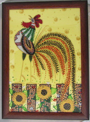 """Rooster Painting on Glass, Dotted Style Design, Framed NEW 2014, 13"""""""