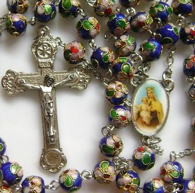 Blue Cloisonne Beads Rosary & Italy Relic Cross Crucifix Catholic Necklace Box