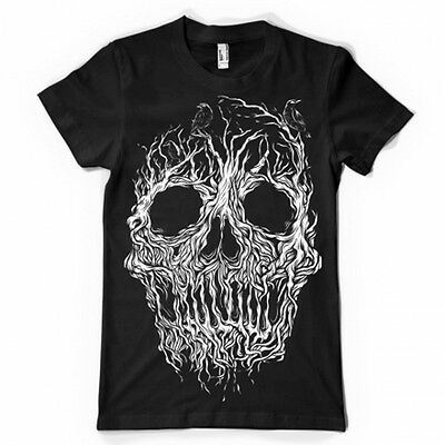 skull tree forest enchanted crow head  dtg tshirt ladies gothic