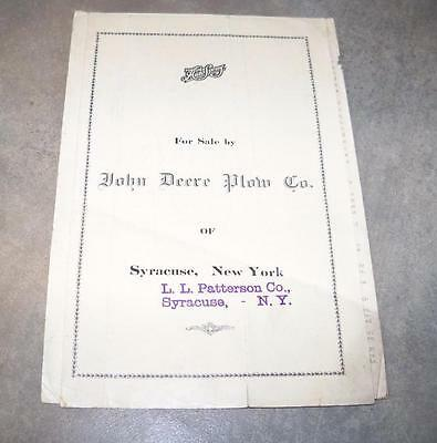 John Deere Plow Company Of Syracuse Ny Auto Spray 1 11 39 41 Brochure Price List