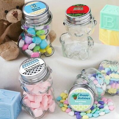 60 Personalized Teddy Bear Treat Jars Party Gift Favors