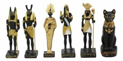 Egyptian Gods Anubis Osiris Seth Horus Bastet Thoth Miniature Statues Set Of 6