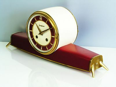 A Dream In Red Later Art Deco  Junghans  Chiming Mantel Clock From 50´s Resonanz