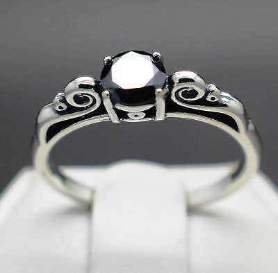 .56cts 5.24mm Natural Black Diamond Ring, Certified AAA Grade & $415 Value