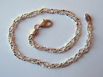 "Italy Sterling Silver & 14k Rose Gold Ankle Bracelet 9"" Rose and Silver Braided"