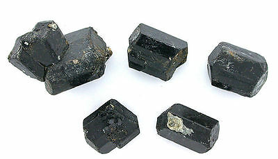 Five Double Terminated Black Tourmaline Crystal Gem Stone Gemstone Natural LPF92