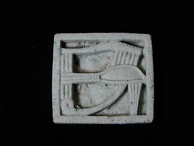 Zurqieh - Q2- Ancient Egyptian Faience Plaque / Pendant With Eye Of Horus